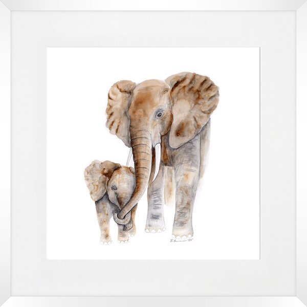 MOTHER AND BABY ELEPHANT CASCADE CANVAS WALL ART PRINT PICTURE READY TO HANG