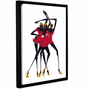 'Little Red Dress' Framed Graphic Art Print on Canvas by Bloomsbury Market