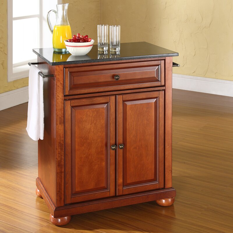 Darby Home Co Pottstown Solid Black Granite Top Portable Kitchen ...
