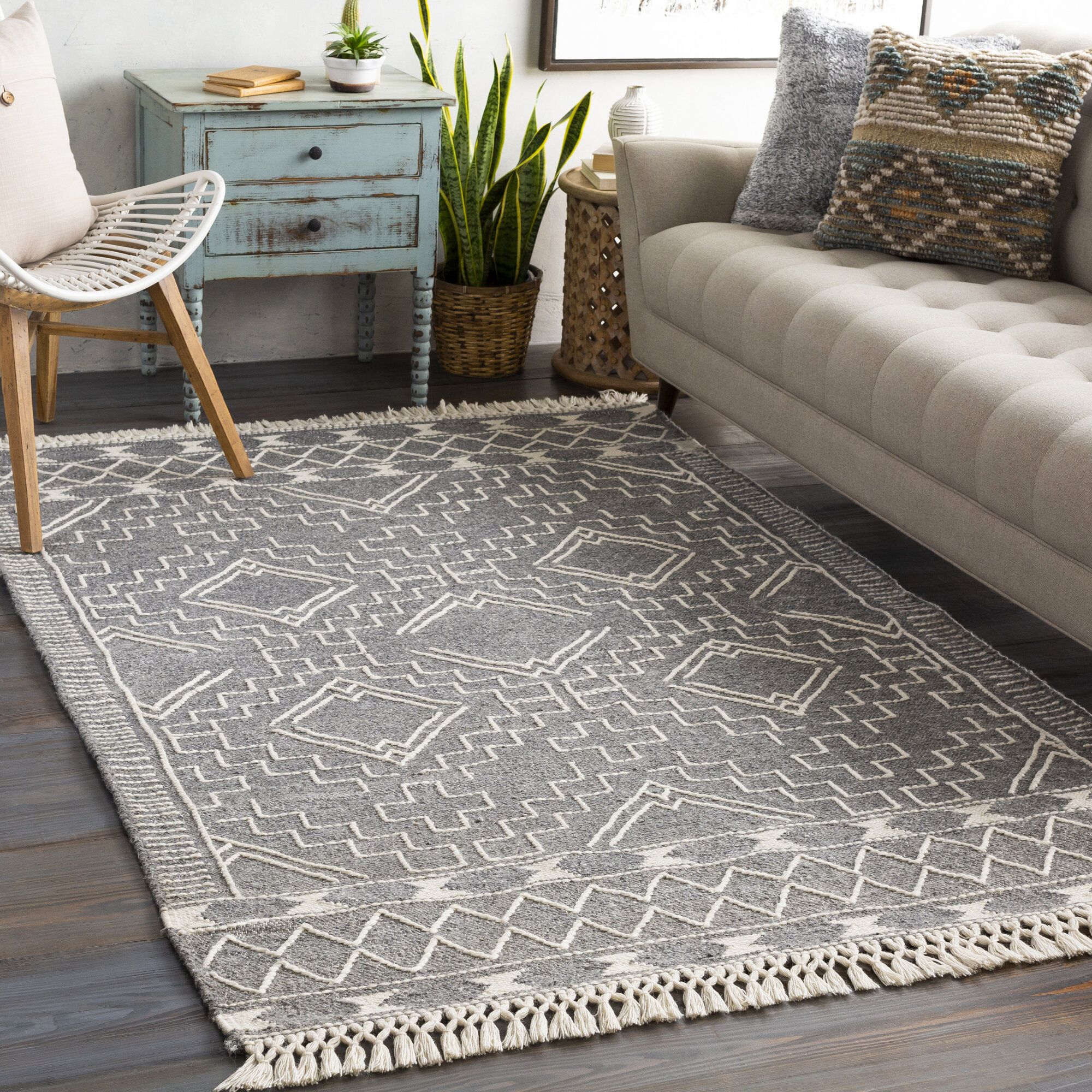 Hilley Hand Tufted Wool Gray Cream Area