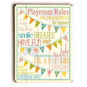 Playroom Rules Wooden Wall Plaque by Viv + Rae