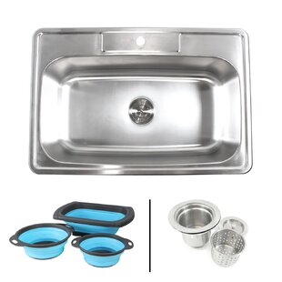 topmount 33 x 22 drop in kitchen sink with faucet and collapsible silicone colanders - Kitchen Sink Mats