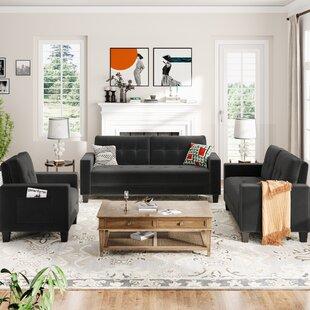 Velvet Upholstered Accent Arm Sofa Set(1+2+3-Seat) by Latitude Run®