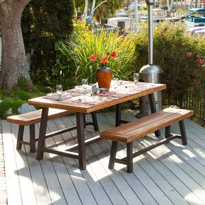 Iron And Wood Patio Furniture wood patio dining sets you'll love | wayfair