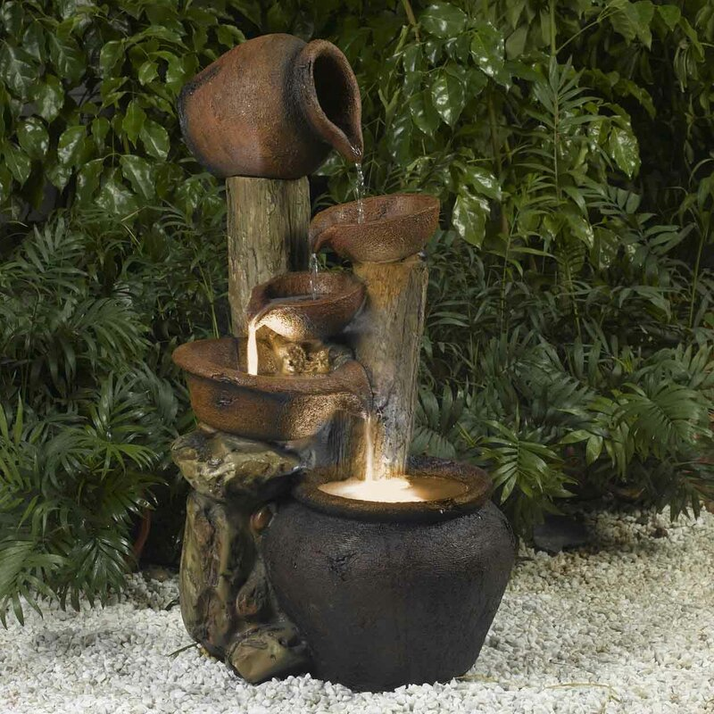 Charming Resin/Fiberglass Pentole Pot Indoor/Outdoor Fountain With Light