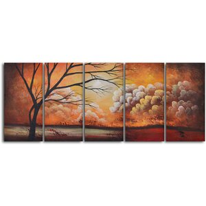 'Tree Silhouette by Thunder' 5 Piece Painting on Wrapped Canvas Set by World Menagerie