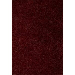 Brys Polyester Red Shag Area Rug