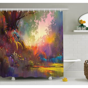 Affordable Magical Lake with Brush Effects Surreal Nature Elf Tranquil Art Print Shower Curtain Set ByEast Urban Home