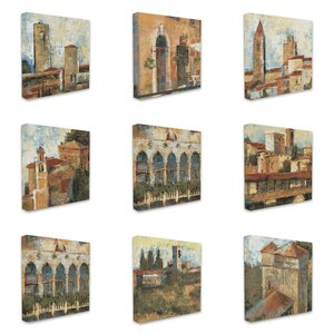 Italian Tuscan Architecture 9 Piece Graphic Art on Canvas Set by Stupell Industries