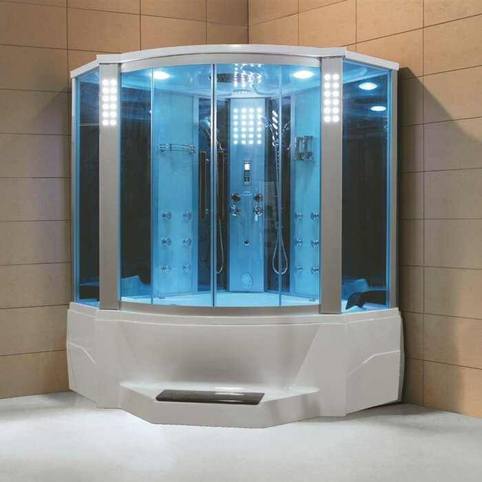 66 X 866 Neo Angle Sliding Steam Shower With Base Included