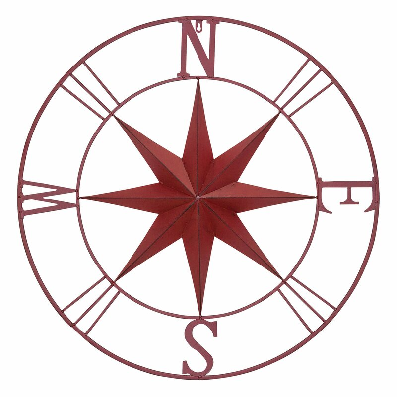 Delicieux Antique Metal Compass Rose Wall Décor