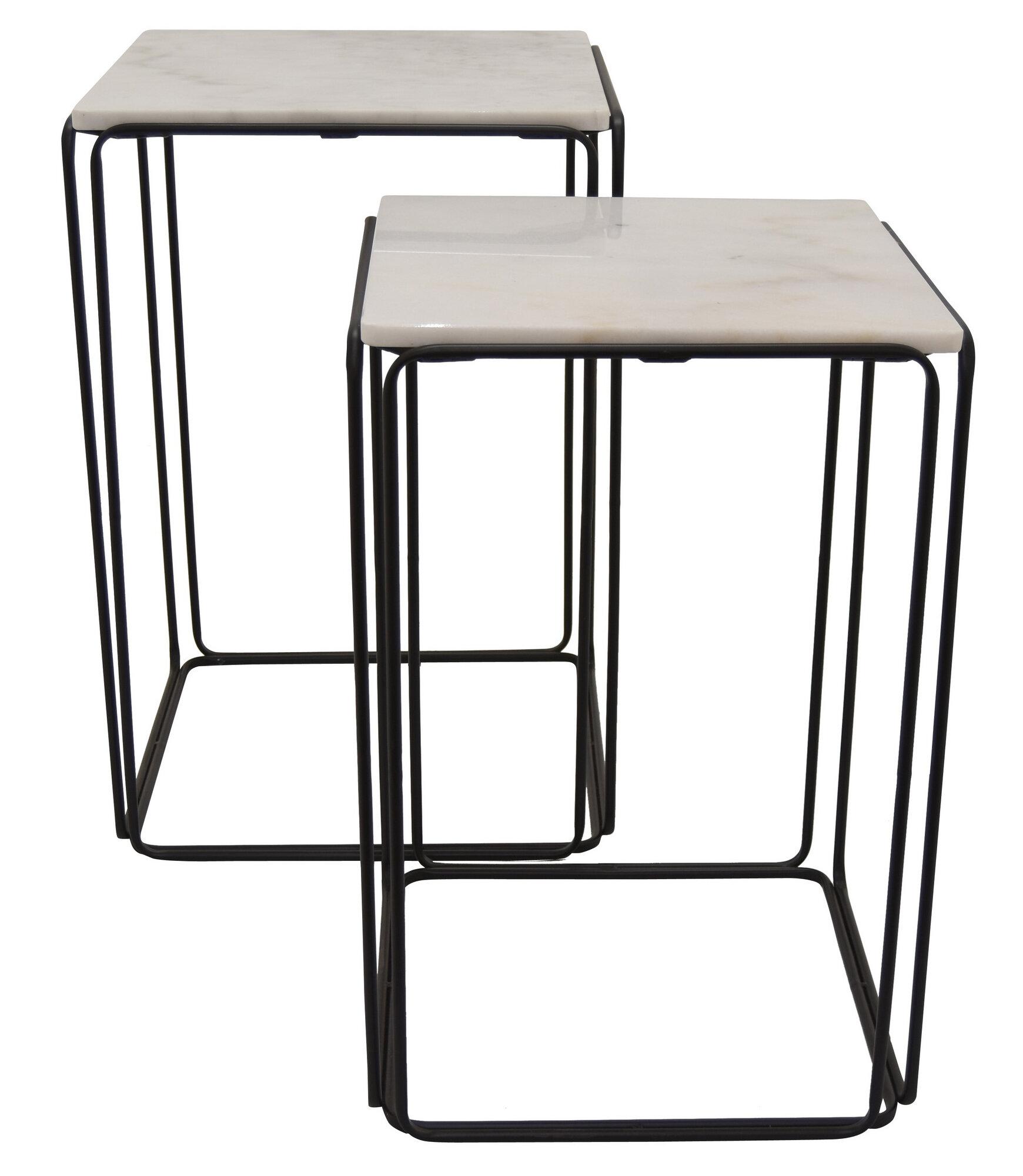 Three Hands Co Metal Marble Top Table Set Of 2 In Black 19in L X W 28in H Wayfair