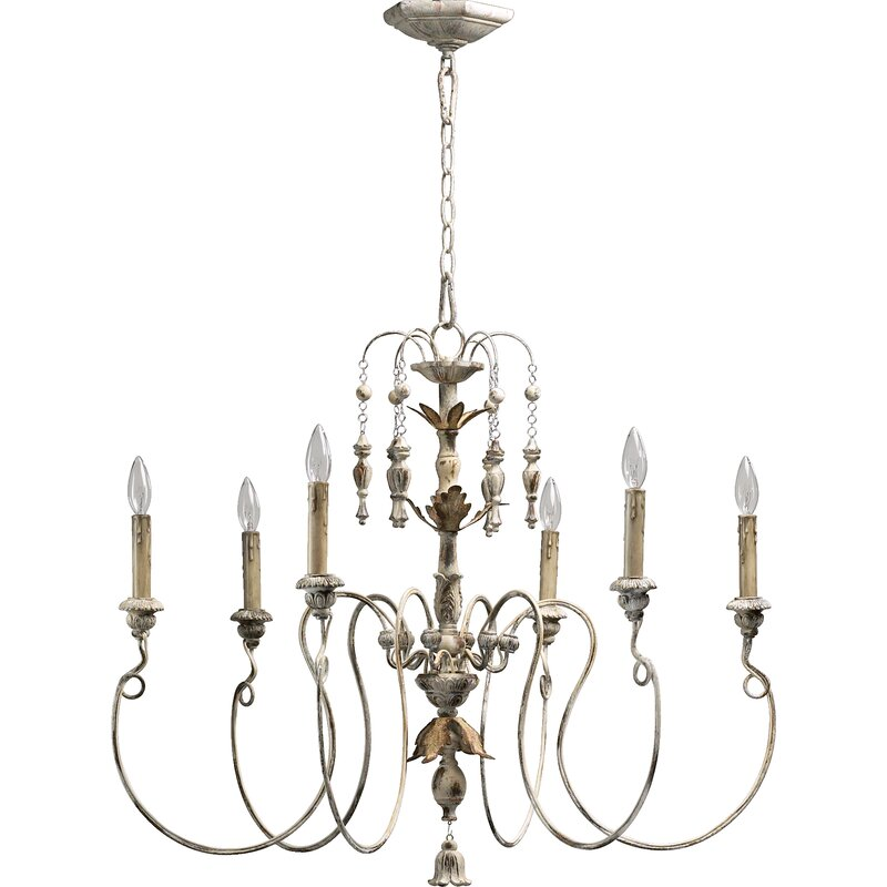 Paladino 6-Light Candle-Style Chandelier. #chandeliers #frenchcountry #frenchdecor #lighting #interiordesign