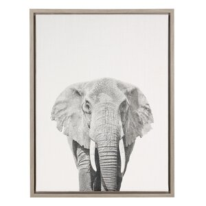 'Elephant Black and White Portrait' Framed Photographic Print on Wrapped Canvas by Ivy Bronx
