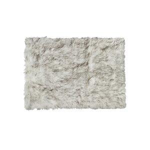 Shawnta Rectangle Gradient Gray Faux Sheepskin Area Rug