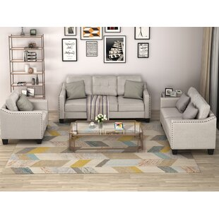 3 Piece Living Room Set, 1 Sofa, 1 Loveseat And 1 Armchair With Rivet On Arm Tufted Back Cushions by Red Barrel Studio®