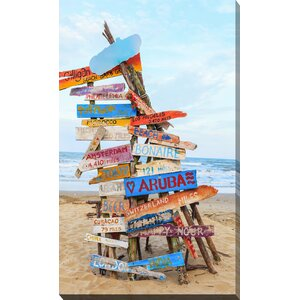 'Beach Signs' Photographic Print on Wrapped Canvas by Picture Perfect International