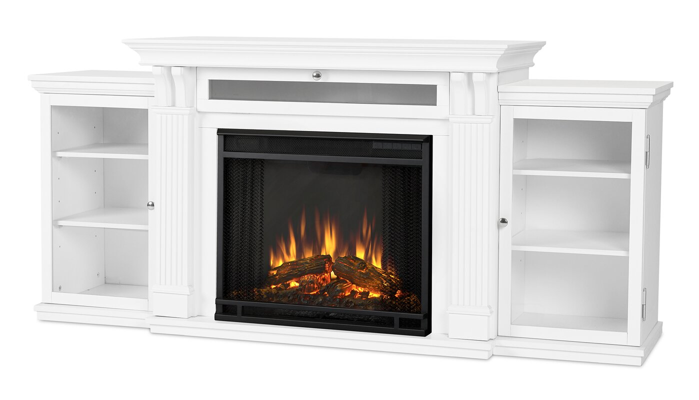White tv stand with electric fireplace - Cali 67 Tv Stand With Fireplace