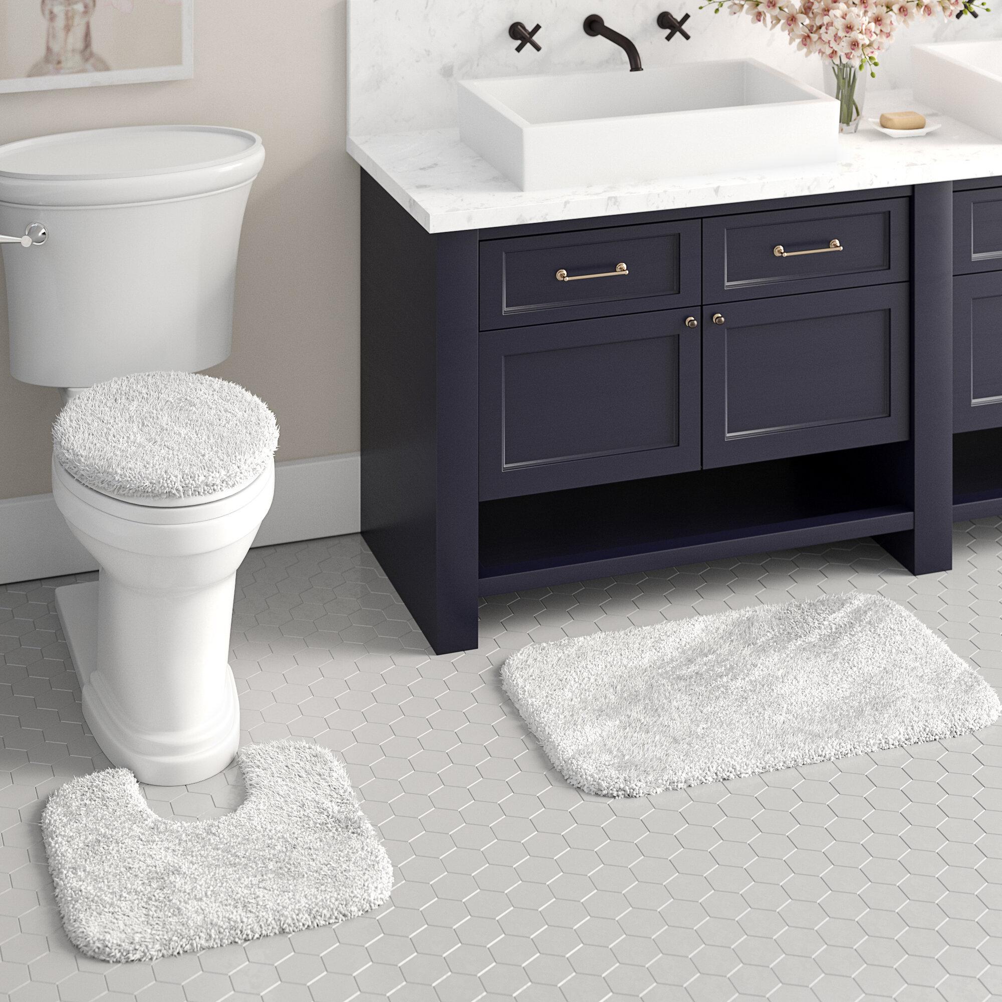Black Toilet Lid Cover Elongated Fun Soft Top Non Slip Plush Nylon Washable Bath