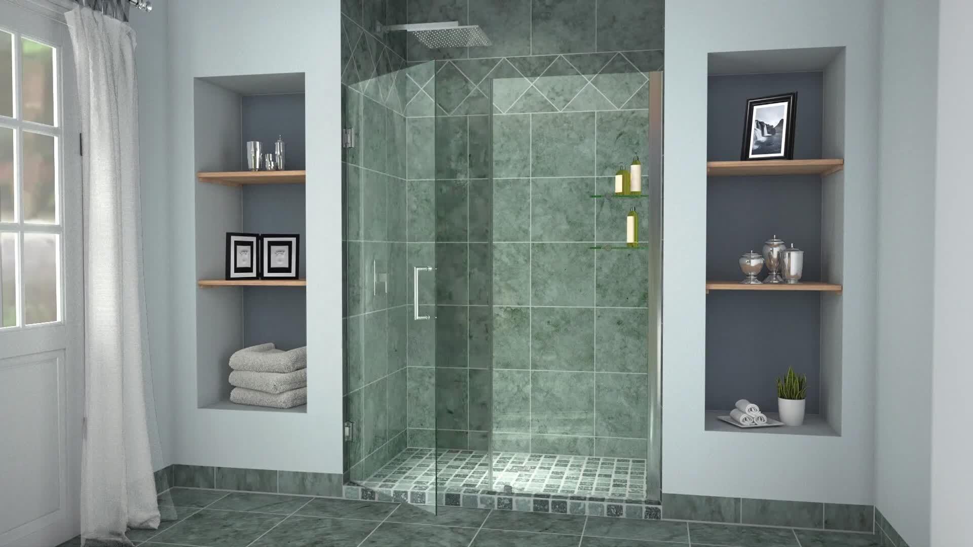 """DreamLine Unidoor 40"""" x 72"""" Hinged Frameless Shower Door with"""