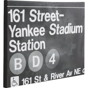 Yankee Stadium Night Textual Art on Wrapped Canvas by Mercury Row