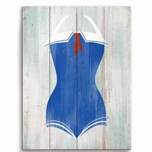 'Vintage Sailor Bathing Suit' Illustration Graphic Art Plaque by Beachcrest Home