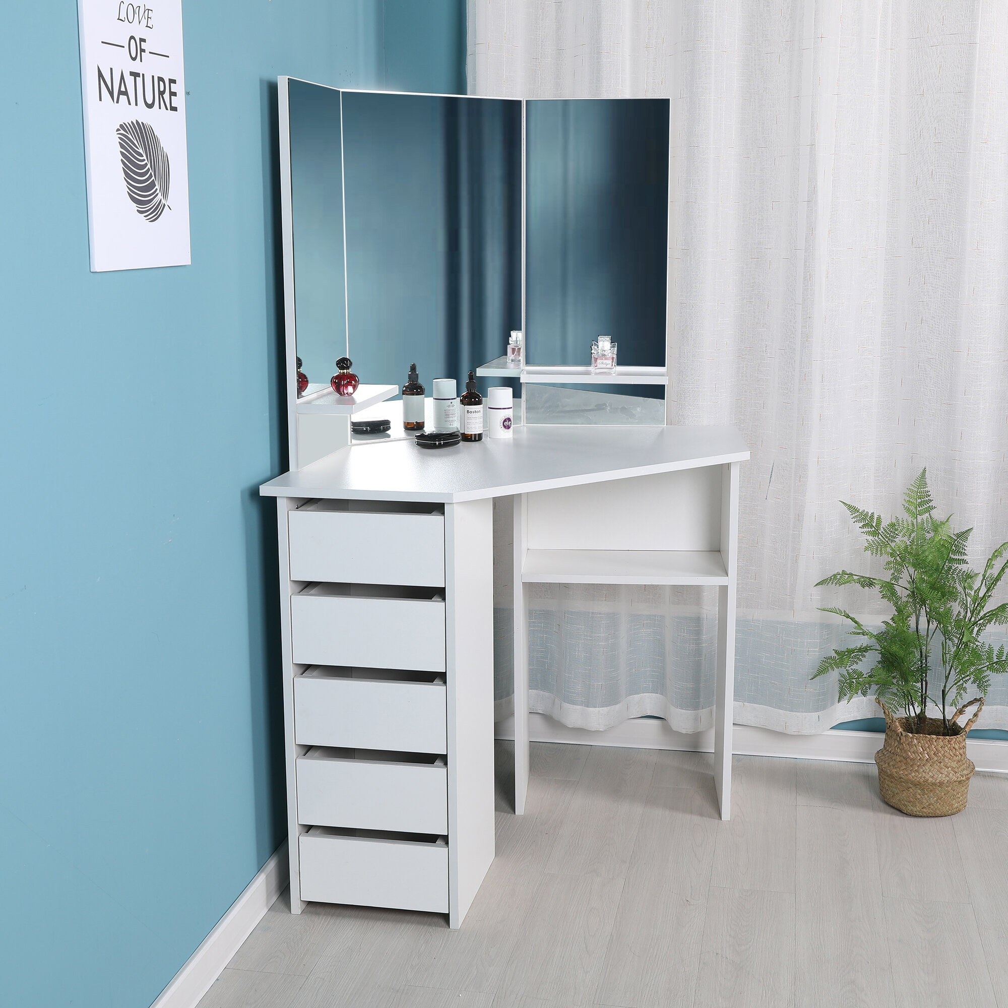 outlet store 43f8d c0b4f Cormier Corner Makeup Vanity with Mirror