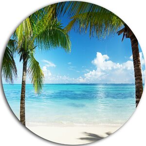 'Palm Trees and Sea' Photographic Print on Metal by Design Art