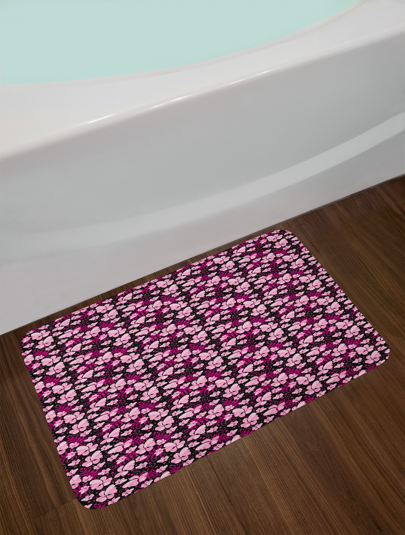 4b7e4c749056 East Urban Home Ambesonne Floral Bath Mat by