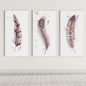 'Feathers' by Dmitry Andruz 3 Piece Painting Print on Wrapped Canvas by Wexford Home