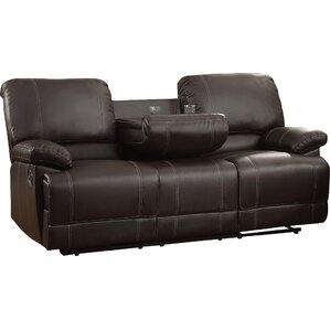 edgar double reclining sofa - Black Leather Loveseat