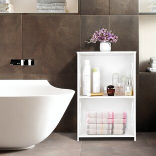 Best Reviews Erickson 2 Tier Modular Side Cross Wood Plastic Composite Shelf Unit Storage 16.14 Bathroom Vanity By Rebrilliant