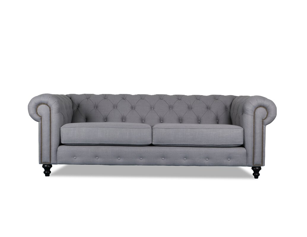Tufted Chesterfield Sofa White Fabric On Tufted Chesterfield Sofa TheSofa