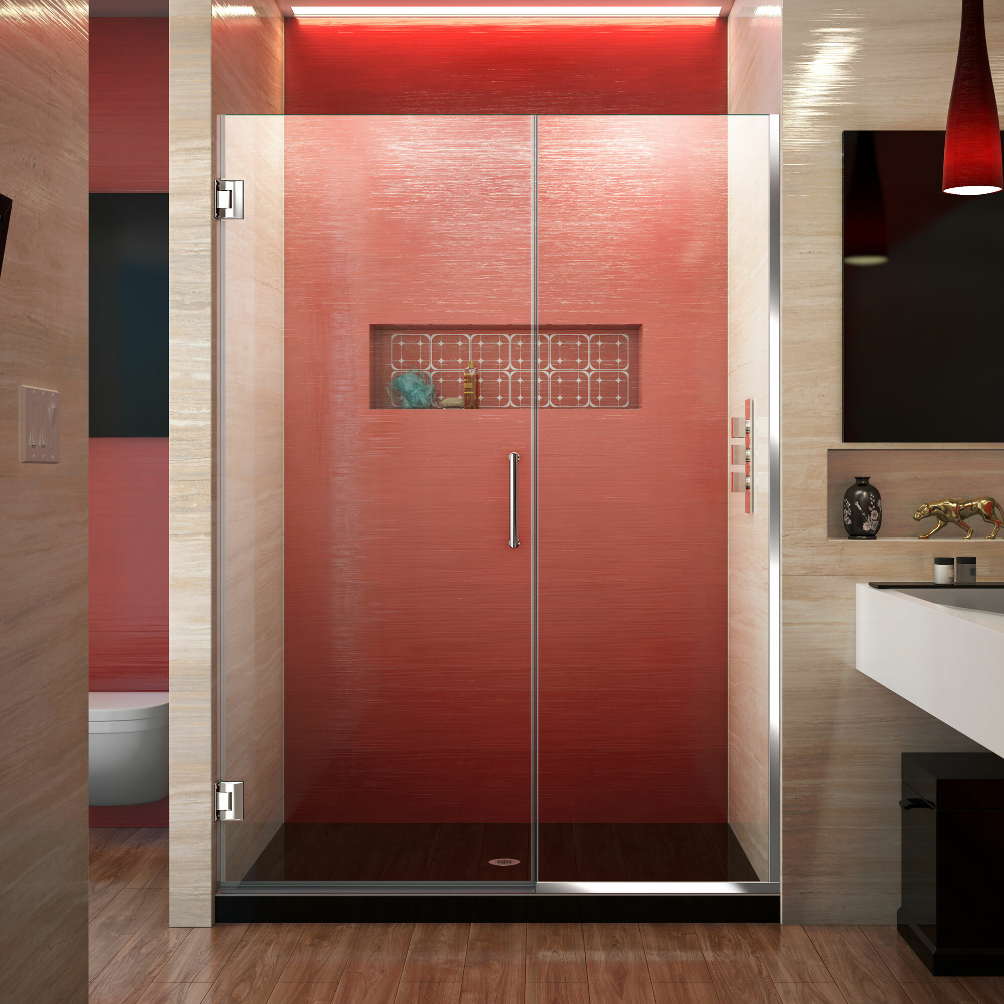Unidoor Plus 53 X 72 Hinged Frameless Shower Door With Clearmax Technology