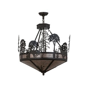 Deer antler pendant light wayfair deer on the loose 4 light bowl pendant aloadofball Gallery