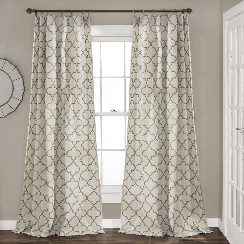 Perfect Dauberville Geometric Room Darkening Rod Pocket Curtain Panels