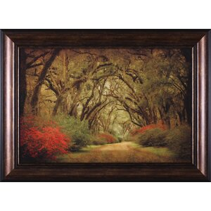 'Road Lined with Oaks and Flowers' Framed Painting Print by Three Posts