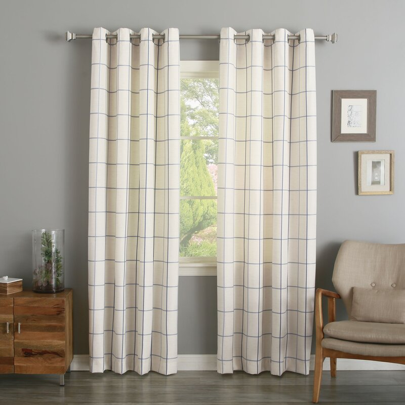 grommet grid stitched linen blend plaid u0026 check semisheer curtain panels
