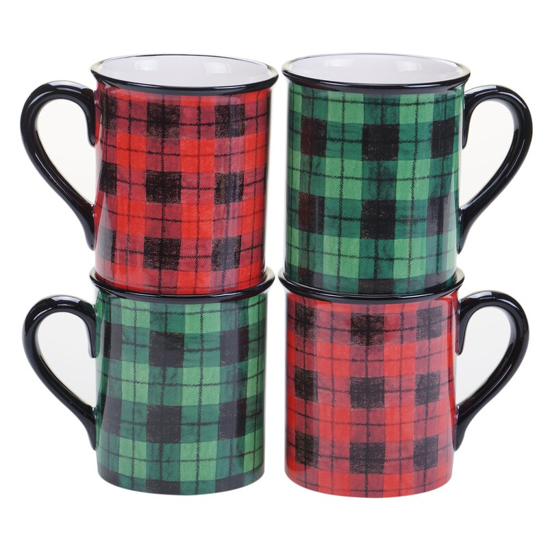 Winter's Plaid Mug. Holiday decor inspiration with plaid, checks, and tartans! Come be inspired by this classic pattern for Christmas decorating. #plaid #christmasdecor #holidayinspiration #checks #decorating #inspiration