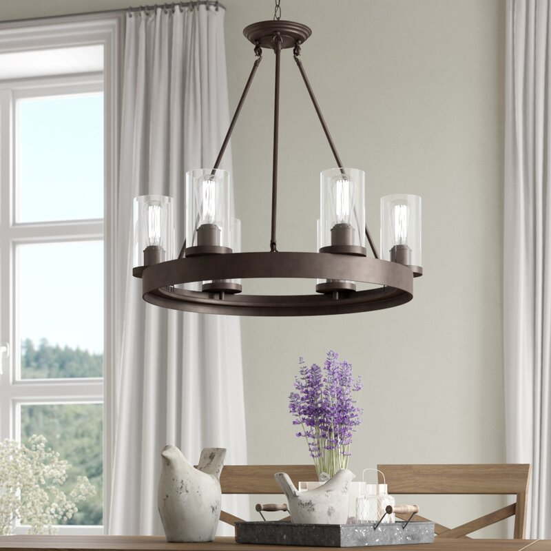 Laurel Foundry Modern Farmhouse Florine 6 Light Shaded Wagon Wheel Chandelier Reviews Wayfair