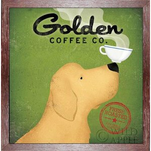 'Golden Dog Coffee Company' by Ryan Fowler Framed Vintage Advertisement by Buy Art For Less