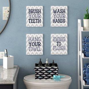 U0027Pierce Chevron Bathroom Rulesu0027 4 Piece Textual Art Wall Plaque Set