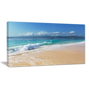 Large Blue Beach in Gili Island Large Seashore Photographic Print on Wrapped Canvas by Design Art