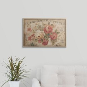 Parisian Flowers III by Danhui Nai Graphic Art on Wrapped Canvas by Great Big Canvas