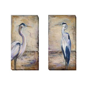 'Blue Heron I and II' by Patricia Pinto 2 Piece Painting Print on Wrapped Canvas Set by Artistic Home Gallery