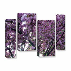 'Spring Flowers' 4 Piece Photographic Print on Wrapped Canvas Staggered Set by Ebern Designs