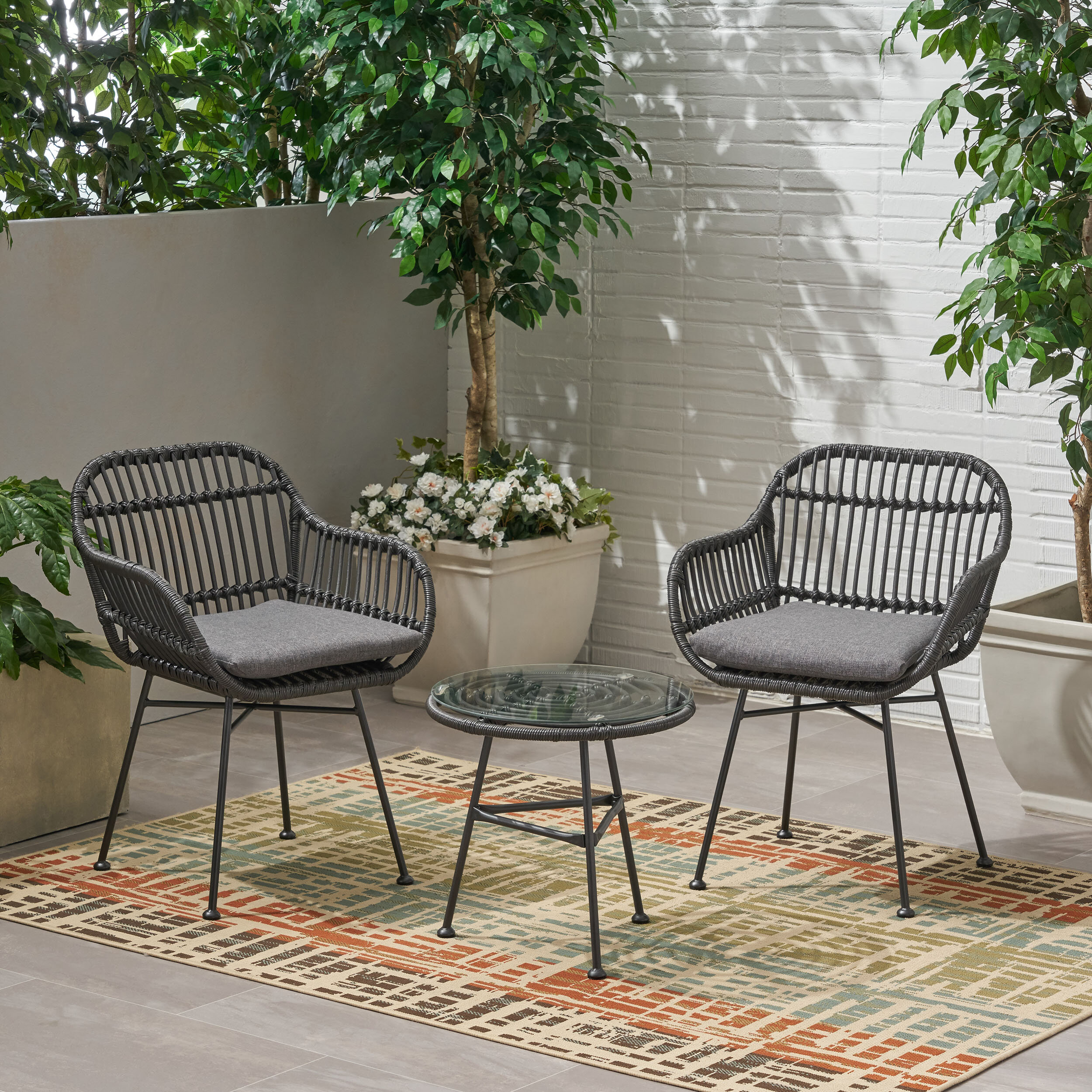 Bay Isle Home Bushnell 3 Piece Rattan Seating Group With Cushions Reviews Wayfair Ca