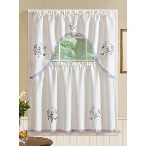 Gerberoy Lily 3 Piece Kitchen Curtain Set