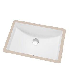 Ceramic Rectangular Undermount Bathroom Sink with Overflow ByDawn USA