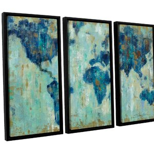 Map of the World' 3 Piece Framed Painting Print Set by Brayden Studio